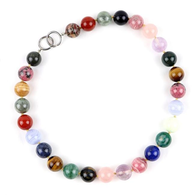 Item - Blue / Green / Multi-color / Red Color / Yellow Paloma Picasso Clasp Bead Colored Gemstone Silver Z5-4125 Necklace