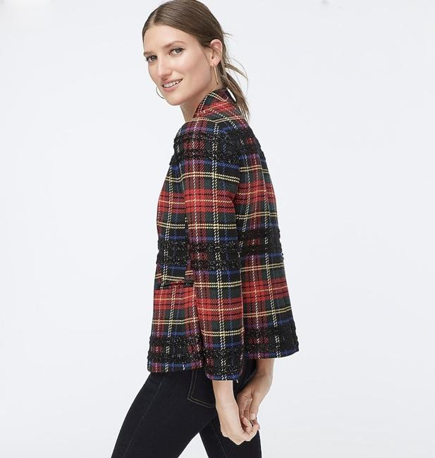 J.Crew Red Black Multi Going-out In Lurex Tartan. Blazer Size 4 (S) J.Crew Red Black Multi Going-out In Lurex Tartan. Blazer Size 4 (S) Image 2
