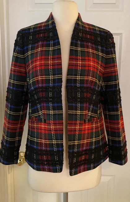 J.Crew Red Black Multi Going-out In Lurex Tartan. Blazer Size 4 (S) J.Crew Red Black Multi Going-out In Lurex Tartan. Blazer Size 4 (S) Image 4