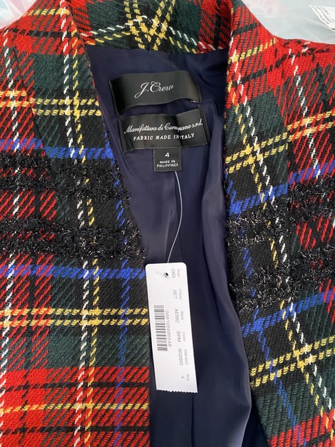 J.Crew Red Black Multi Going-out In Lurex Tartan. Blazer Size 4 (S) J.Crew Red Black Multi Going-out In Lurex Tartan. Blazer Size 4 (S) Image 5