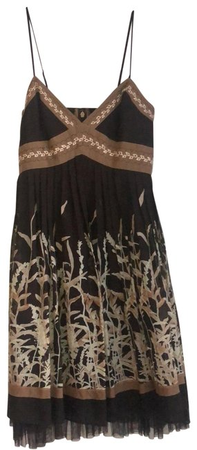 Item - Brown Tulle Hem Hand Stitching Short Casual Dress Size 0 (XS)