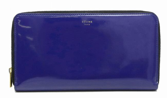 Item - Blue Long Round Fastener Enamel Leather 101873rsp Wallet