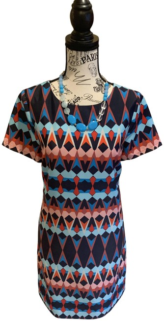 J.Crew Red and Blue Geo Print Shift Short Casual Dress Size 2 (XS) J.Crew Red and Blue Geo Print Shift Short Casual Dress Size 2 (XS) Image 1