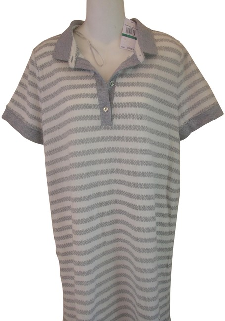 Item - Gray and White Short Sleeve Striped Knit Tunic/Top Tunic Size 12 (L)