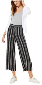 Ann Taylor LOFT Striped Capri/Cropped Pants black