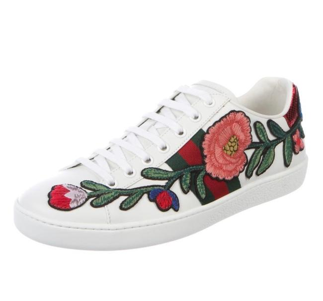 Item - White New Floral Print Accent Sneakers Size EU 38.5 (Approx. US 8.5) Regular (M, B)