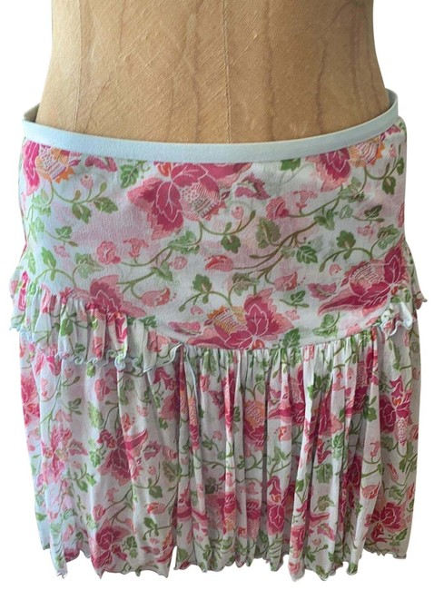 Item - Baby Blur with Fushia Flowers and Green Leaves Silk Mini. Fully Lined. Skirt Size 4 (S, 27)