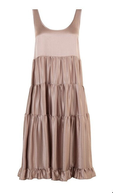 Item - Taupe New Paris Silk Tiered Mid-length Casual Maxi Dress Size 8 (M)