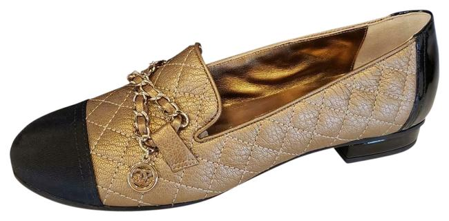 Item - Bronze/Black 18a Quilted Deerskin Leather Chain Cap Toe Loafers Moccasin Flats Size EU 36 (Approx. US 6) Regular (M, B)