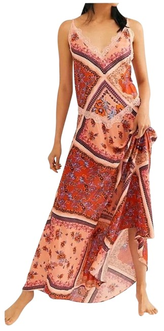 Item - Pink Combo Stevie Lace Trim Small Long Casual Maxi Dress Size 4 (S)