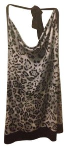 IZ Byer California Animal Print Silver/Black Halter Top