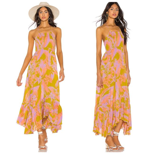 Item - Gold Combo Heat Wave Maxi In Mid-length Short Casual Dress Size 8 (M)