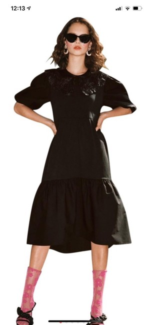 Item - Black Embroidered Collar Mid-length Short Casual Dress Size 6 (S)