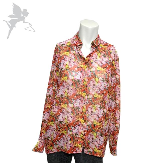 Item - Red Pink and Yellow Floral Button-down Top Size 6 (S)