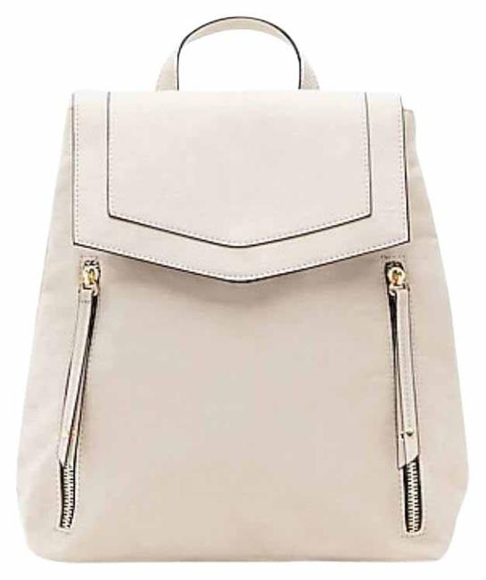 Item - Double Zip Silver Faux Leather Backpack