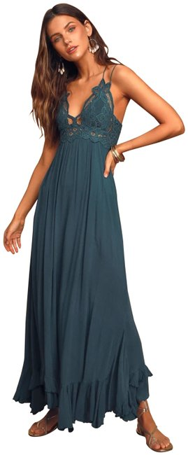"""Item - Teal XS Fp One """"Adella"""" Slip Crochet Maxi Smocked Long Night Out Dress Size 2 (XS)"""