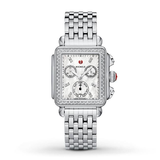 Item - Silver Deco Stainless Mother Of Pearl Womens Diamond Mww06p000099 Watch
