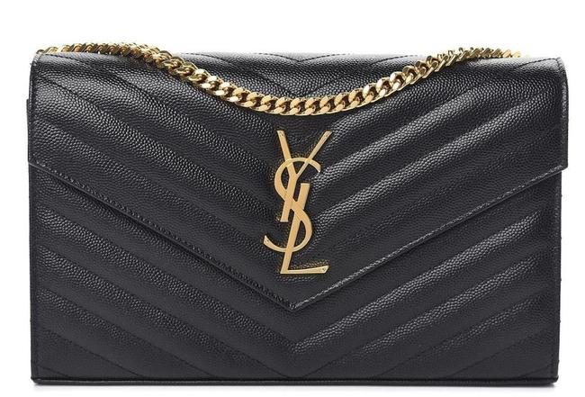 Item - New Ysl Medium Wallet On A Chain Purse Black Leather Shoulder Bag