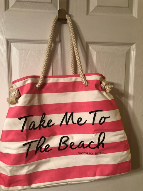 Item - Tote Pink & White Canvas Beach Bag