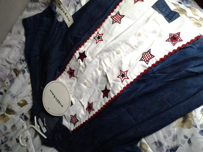 Maggie and Max Embellished Embroidered Button Down Shirt red white and blue