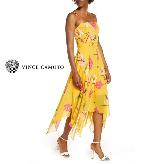 Item - Yellow Pink Floral Sharkbite Midi Mid-length Cocktail Dress Size 12 (L)