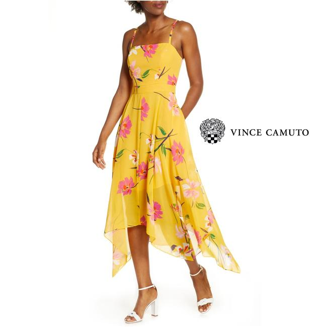 Item - Yellow Pink Floral Sharkbite Midi Mid-length Cocktail Dress Size 14 (L)