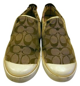 Coach Sneakers Slip-on Size 9.5 Tan Brown/tan/gold Athletic