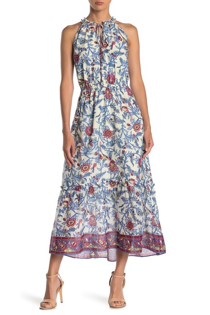 Item - White Gulp Ruffle Neck Tropical Blue Print Midi Long Casual Maxi Dress Size 4 (S)