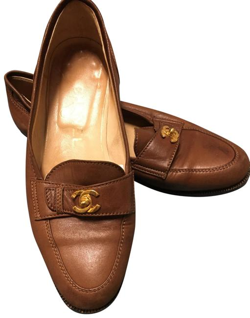 Item - Brown Vintage Classic Gold Cc Logo On Front Tab. Flats Size EU 36 (Approx. US 6) Regular (M, B)