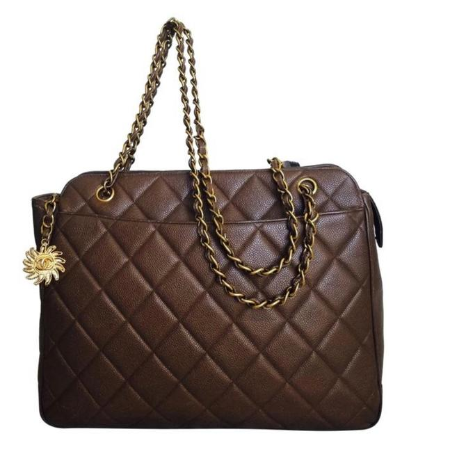Item - Timeless Large Quilted Gold Brown Leather Tote