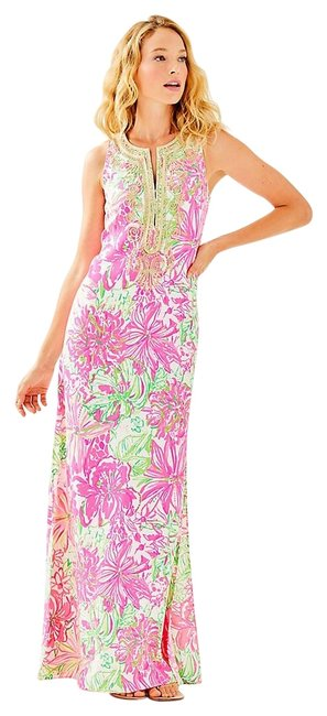 Item - Pink and Green Floral Carlotta Maxi Long Night Out Dress Size 4 (S)