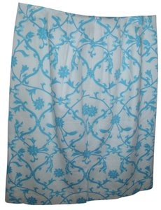 Talbots Cornflower Blue Blue And White Patterned Paisley Floral Graphic Vintage Size 4 ' Stretch A Line Patterned A Skirt