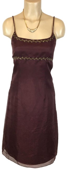 Item - Brown Silk Mid-length Cocktail Dress Size 2 (XS)