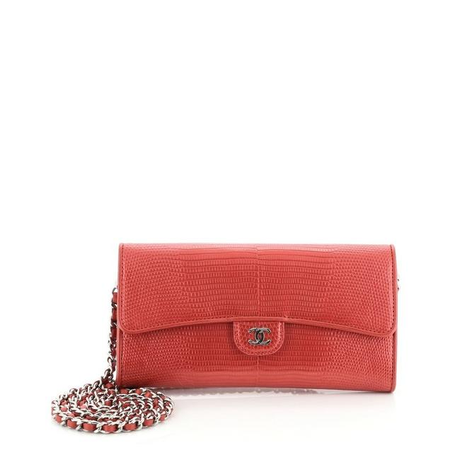 Chanel Red Wallet on Chain East West Lizard Scarf/Wrap Chanel Red Wallet on Chain East West Lizard Scarf/Wrap Image 1