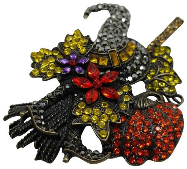 Item - Multi Colors New Antique Bronze Austrian Crystal Autumn Fall Halloween Witch Brooch