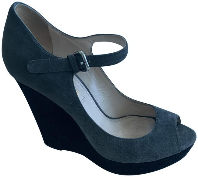 Item - Suede Gray/Black. Mary Jane Two-tone Wedges Size EU 35 (Approx. US 5) Regular (M, B)