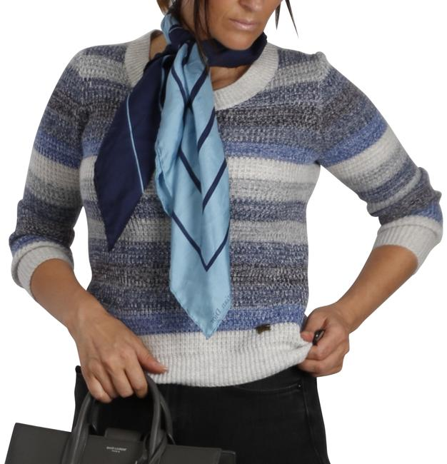 Item - Striped 3/4 Sleeve Knitted Blue Gray Sweater