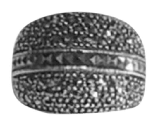 unknown Sterling Silver And Marcasite Wide Band Dome Ring