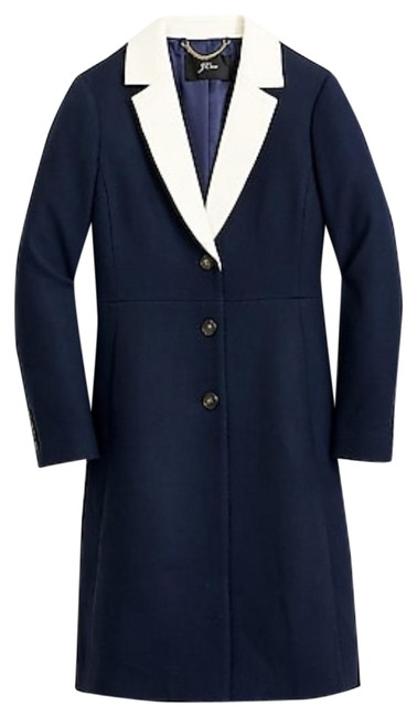 Item - Navy Topcoat with Contrast Lapel Double-serge Wool. Coat Size 8 (M)