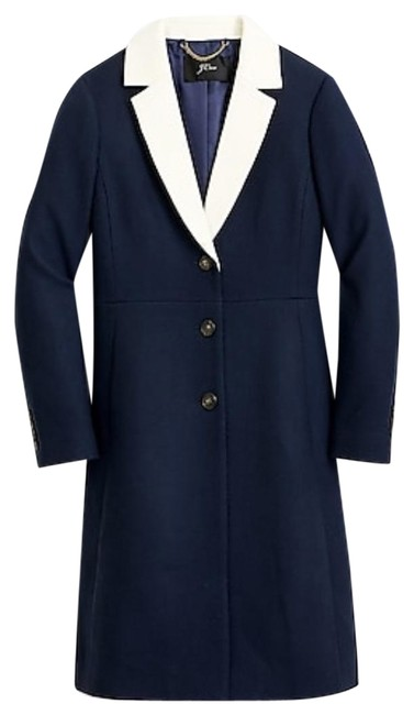 Item - Navy Topcoat with Contrast Lapel Double-serge Wool. Coat Size 10 (M)
