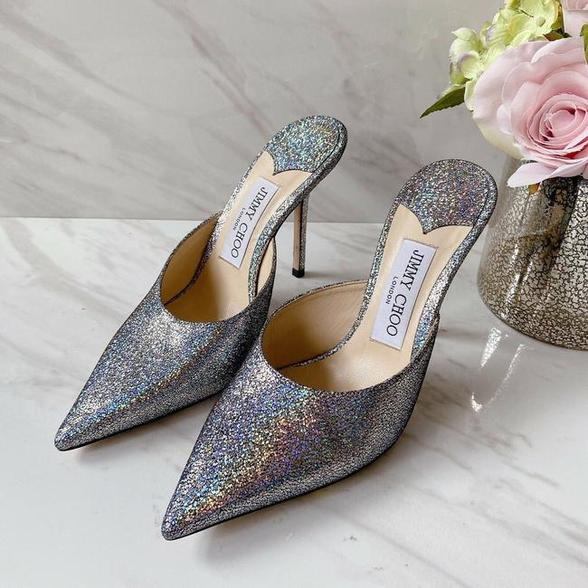 Item - Silver Gray Metallic Rav Pointed Toe Glitter Leather Mules/Slides Size US 6 Regular (M, B)