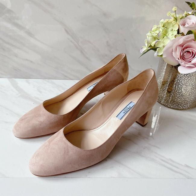 Item - Pink Nude Womens Heel Block Heel Round Toe Suede Pumps Size US 8.5 Regular (M, B)
