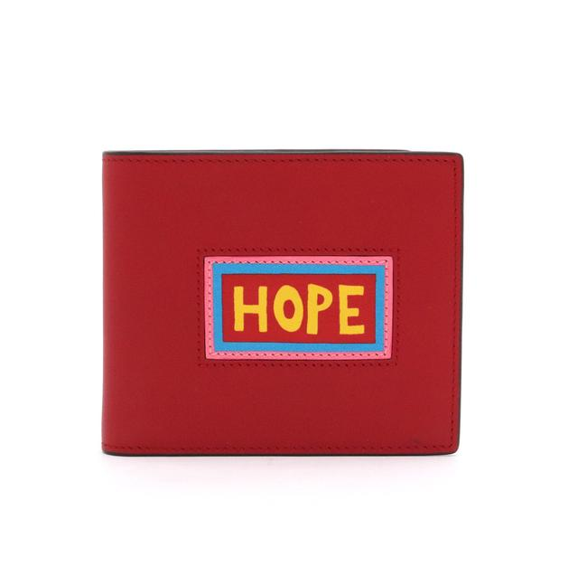 Item - Red Color / Yellow Logo Print Bi-fold Leather 7m0169 60i 179 8167 Wallet