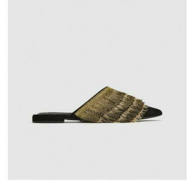 Item - Black Gold Flat with Fringe Mules/Slides Size US 7.5 Regular (M, B)