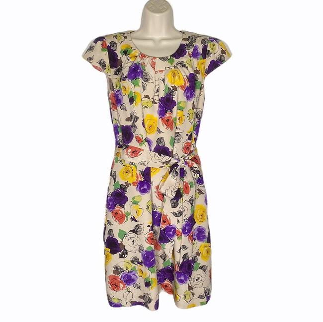 Item - Multicolor Abstract Floral Silk Mid-length Work/Office Dress Size 4 (S)