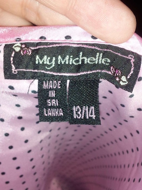 My Michelle Pink Black Lace Polka Dot Top