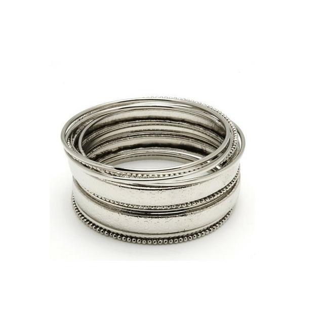 Item - Silver Bangle 11 Pc Size 7 Silver-tone Textured Bracelet