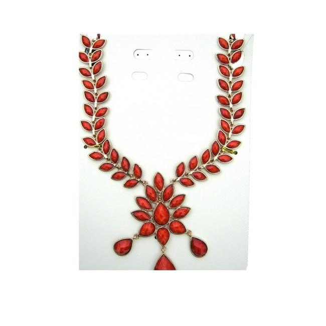 """Item - Gold-tone & Coral Statement """"Dune"""" Stone Necklace"""