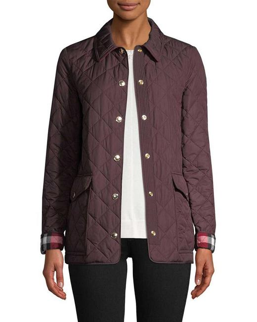 Item - Burgundy 'westbridge' Diamond-quilted Check-accent Jacket Coat Size 6 (S)