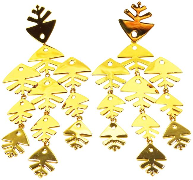 Item - Gold Fish Yellow Plated Chandelier Earrings